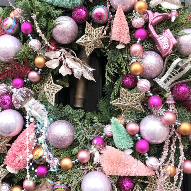 This is a close up of the wreath I made for  @blonde_inthedistrict  which started this season's trend!