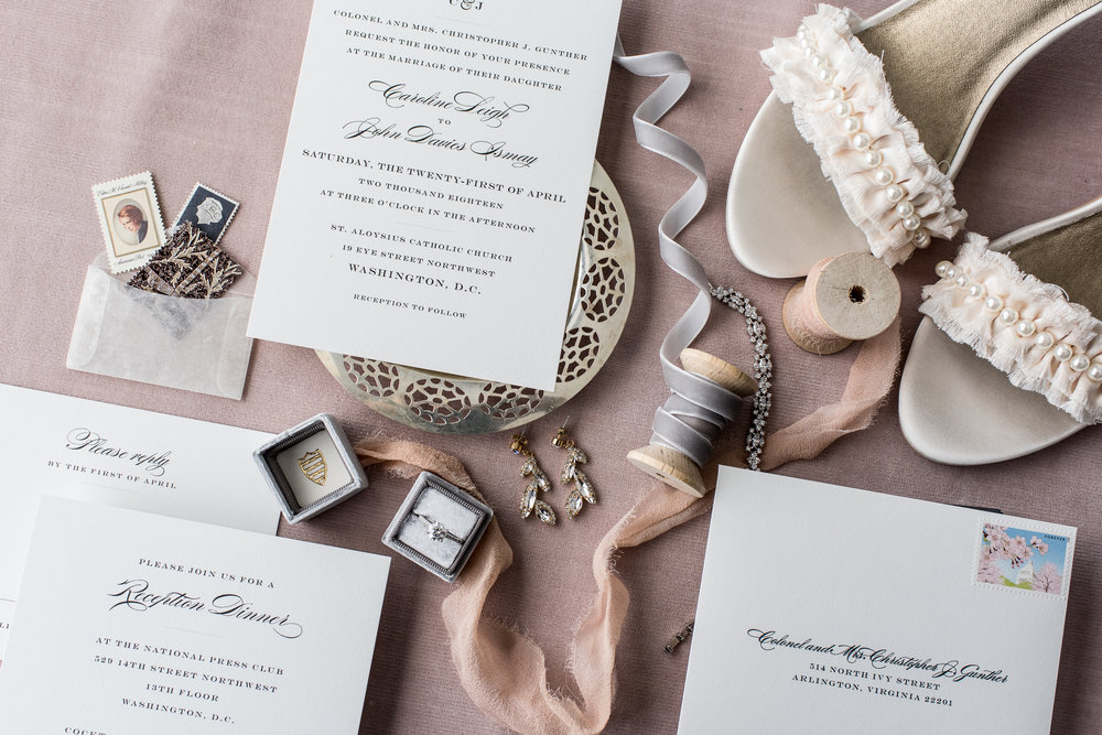 Atelier Ashley Flowers + Erin Tetterton Photography +  Flat Lay + Stationary + ribbon + Wedding Invitation