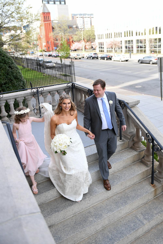Atelier Ashley Flowers + Erin Tetterton Photography + Bridal Bouquet + flower girl + Gonzaga church + all white wedding