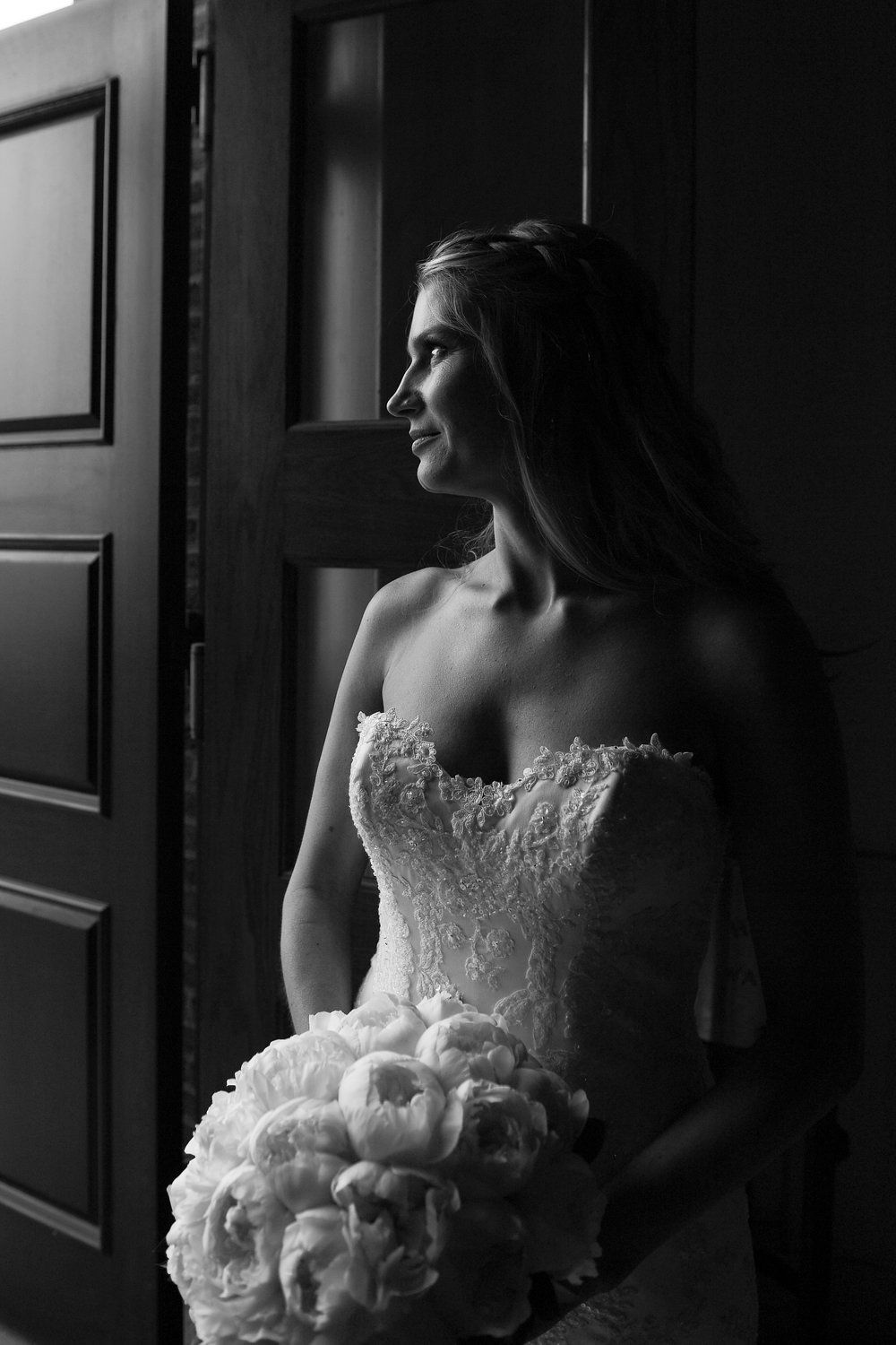 Atelier Ashley Flowers + Erin Tetterton Photography + black and white bridal portrait + all peony bouquet