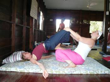 Thai Bodywork training, The Fine Art of Thai Massage School, Chiang Mai, Thailand, January, 2010.