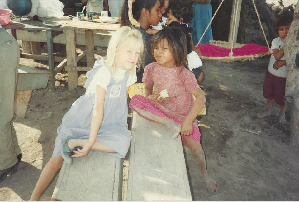 Stephenie Davis with a childhood friend in Mexico.