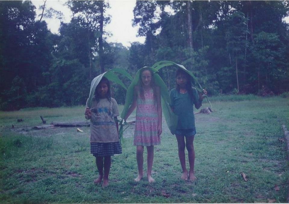 Stephenie Davis with two friends in Ecuador on her 11th birthday.