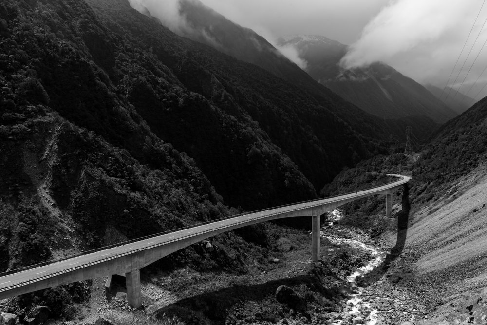 Otira Viaduct. Built in 1999 to replace the old road as it was prone to rock slides. The area is a active seismic region which made construction tricky.
