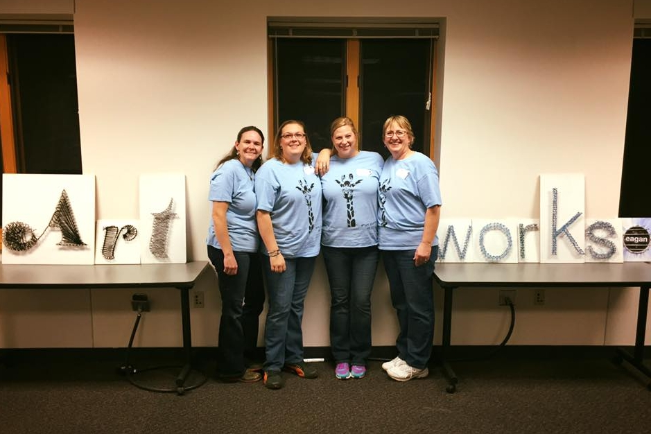 Art Works Eagan was founded in January, 2016 by (from left to right) Jerri Neddermeyer, Juliet Parisi, Caitlin Dowling, and Wanda Borman