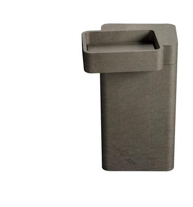 "Saturnia Column Pedestal Sink Bronze Grey Limestone 21.25"" x 19"""