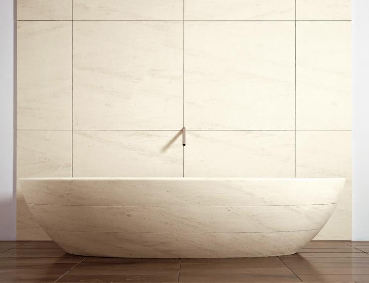 "Tinozza Bath Tub   Bianco Carrara Marble  79"" x 39"""
