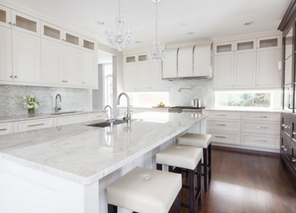 Super White Quartzite Countertops | Designed by Amrami Design Group