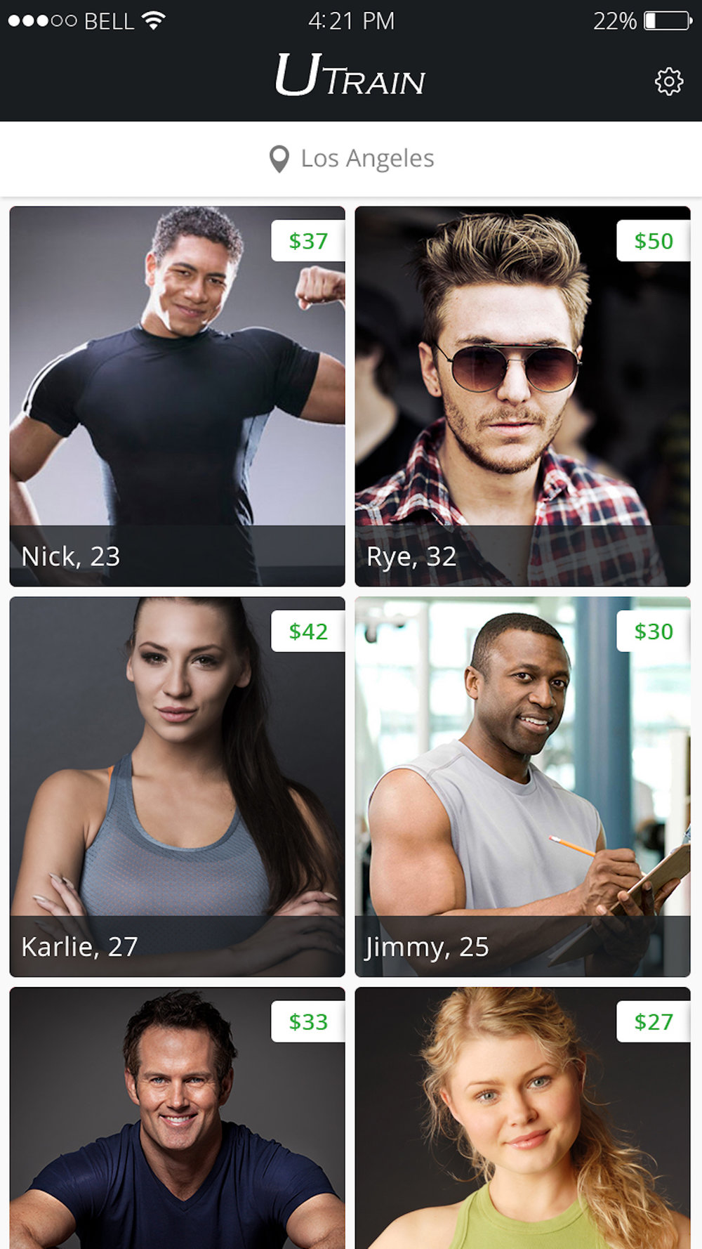 UTrain Personal Trainer Screen