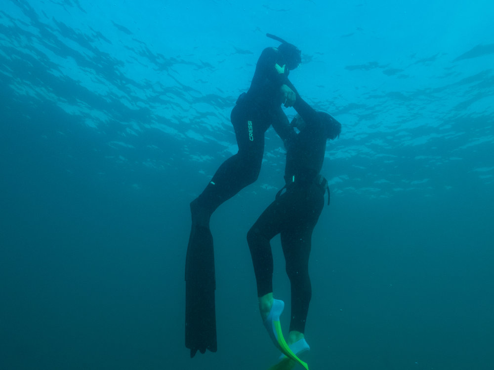 efficiency is key to a good rescue. keep your fins clear and your profile narrow to maximise your speed