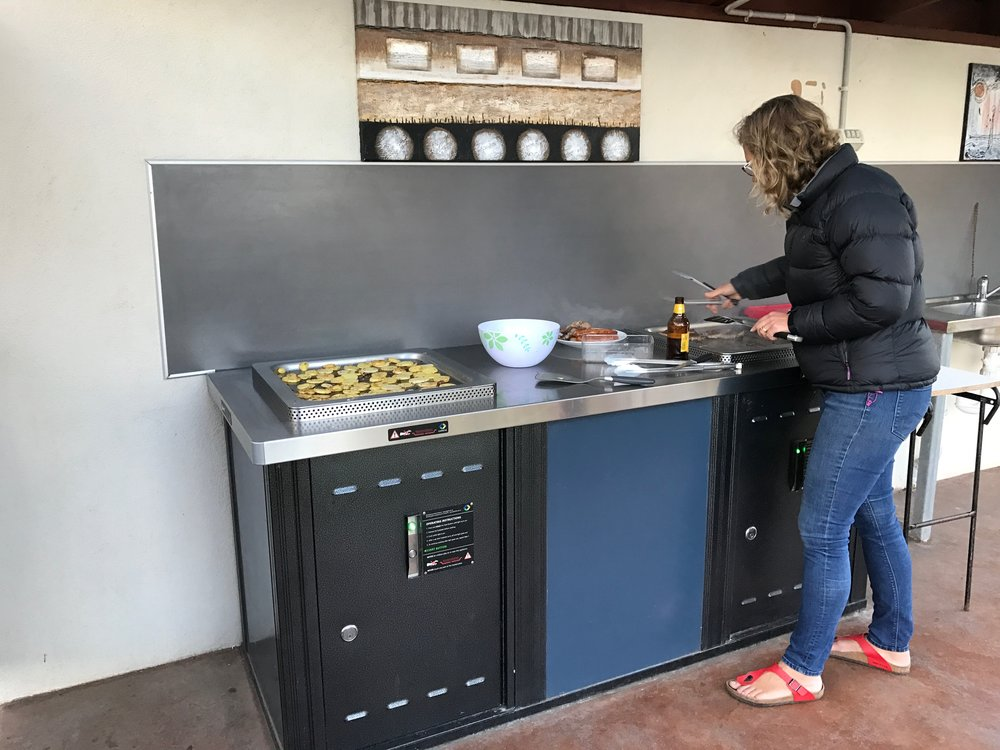 Camp cooking options for all   - We've got a range of options for cooking while you camp or stay with us. Our camp kitchen is indoors and there's plenty of space to BYO table and chairs if you want a change of scenery. We also have an undercover BBQ area near the safari cabins and a fire pit for those who want to get back to camp cooking basics.