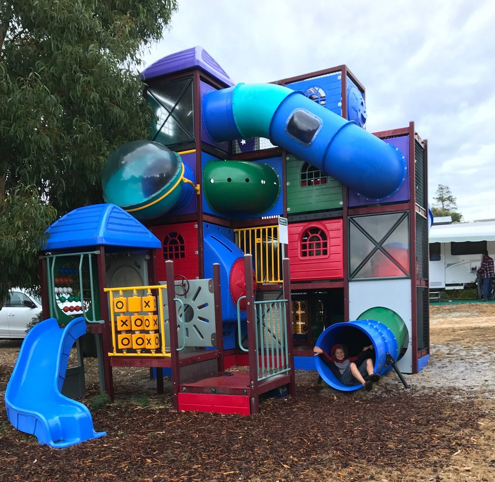 Two great playgrounds for our littlest guests  - Playgrounds are always a major win for families when camping. Little ones can run off some of their excess energy while parents and friends relax and have some time to themselves/ We have two playgrounds. This big whopper which can entertain for hours and a smaller toddler playground near our camp kitchen.