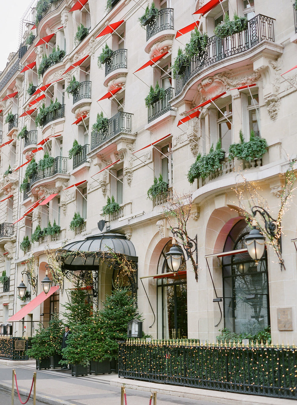 Hotel Plaza Athenee, Paris  in festive attire for the winter holidays   Greg Finck Photography