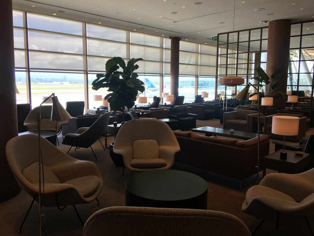 The recently-renovated Cathay Pacific First and Business Class Lounge at Vancouver International Airport.