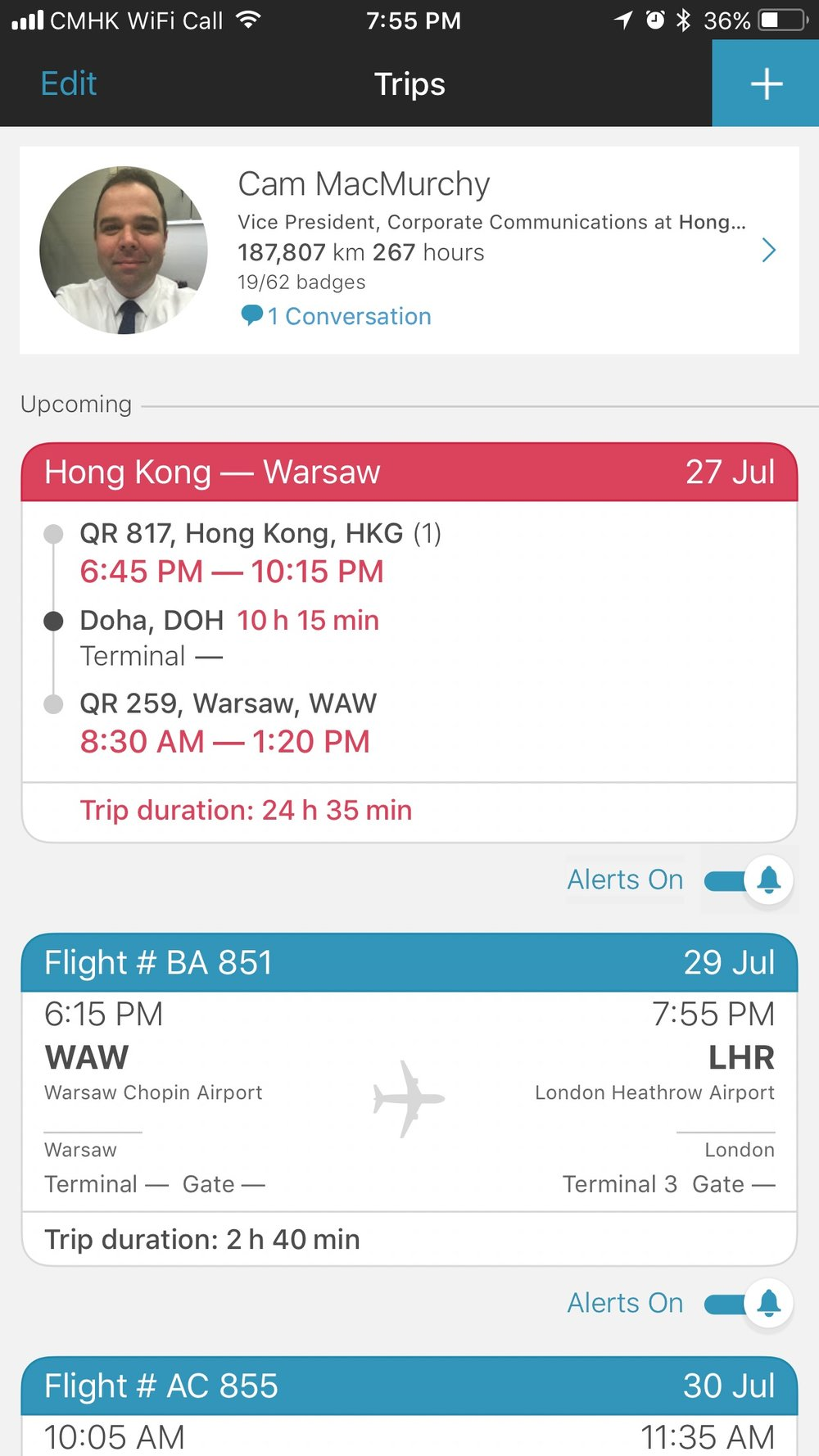 App in the Air showing my upcoming flights.