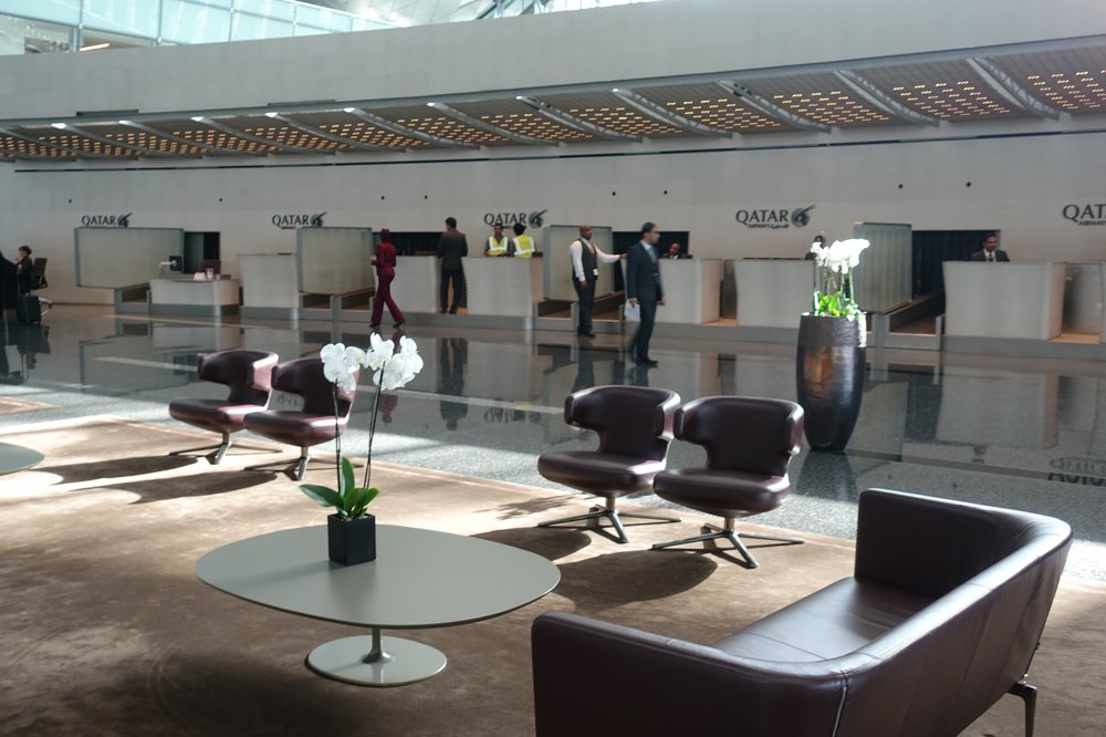 Business class check-in counters are in an isolated area of the departures terminal.