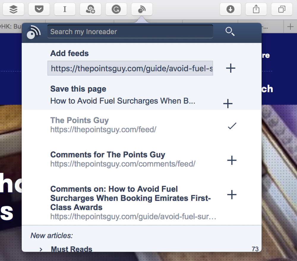 The browser extension finds RSS feeds within the page you're viewing, and lets you add them to Inoreader or bookmark the page.