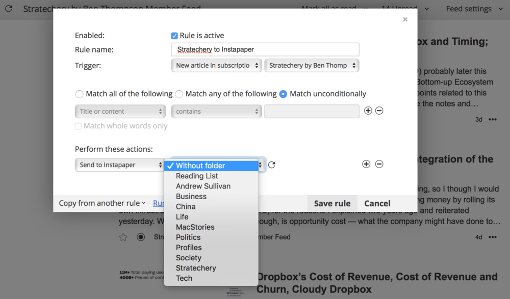 Setting up a rule to publish articles from an RSS feed into a specific folder in Instapaper... automatically.