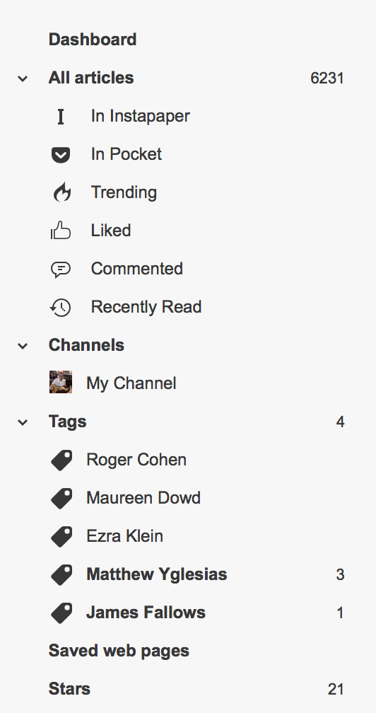 Options that sit above your subscriptions in Inoreader.