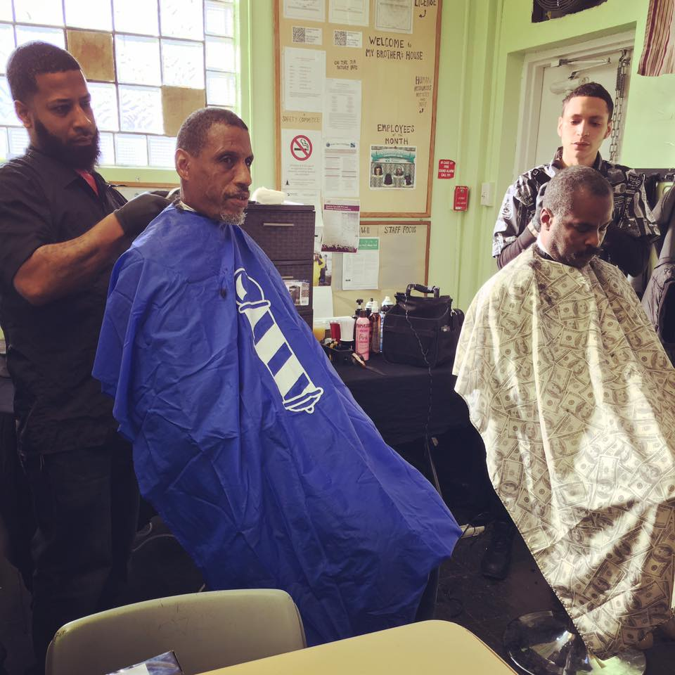Philly Barber School students cut hair at My Brother's House on MLK Day with Salvation of Sorrows, Inc.