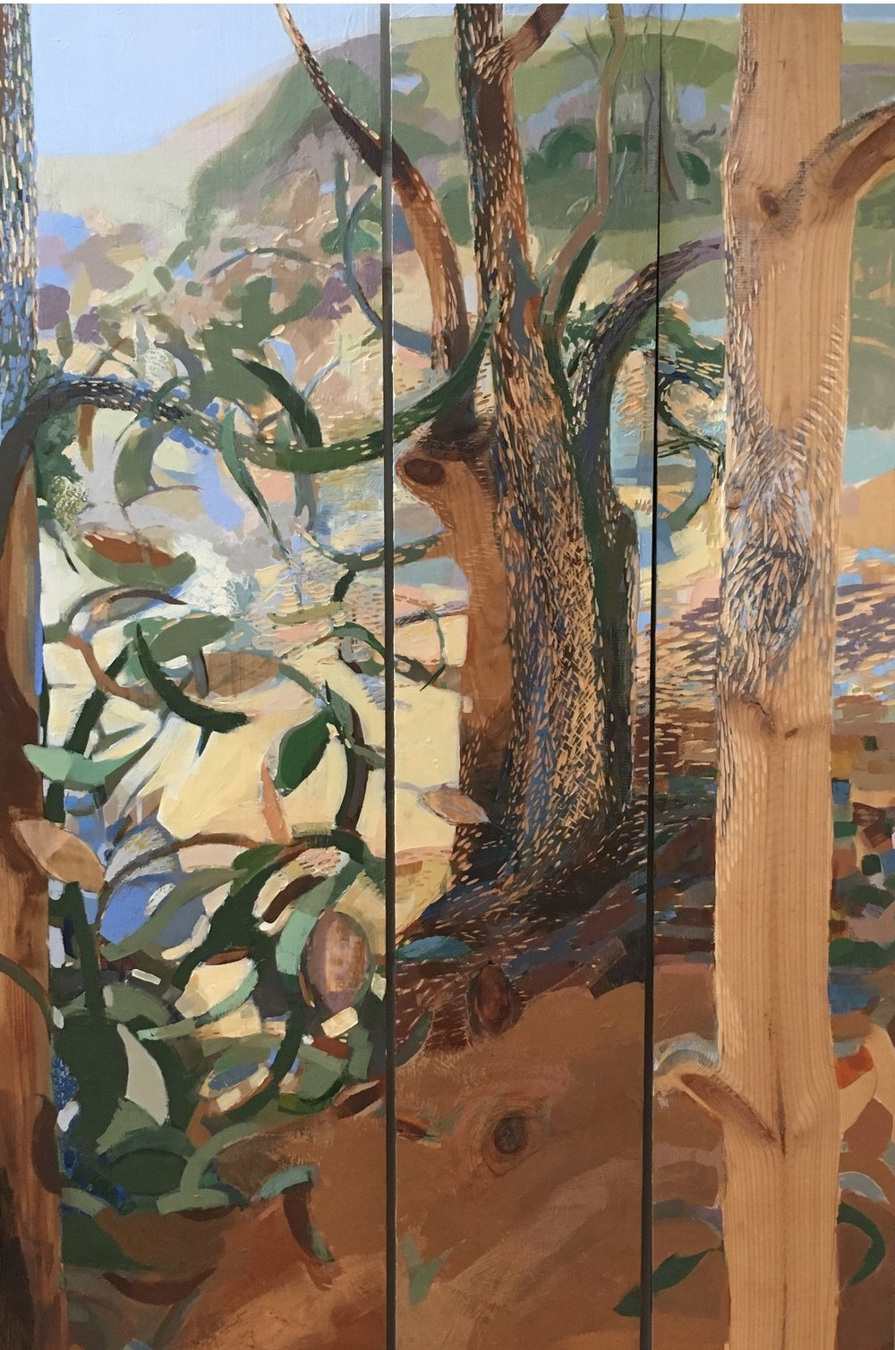 Warm Grove  (detail view), 2016, mixed media on carved wood, 74 x 34 inches