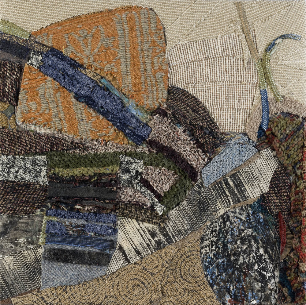 Vista and Strata II , 2012, mixed media on panel, 16 1/4 x 16 1/4 inches