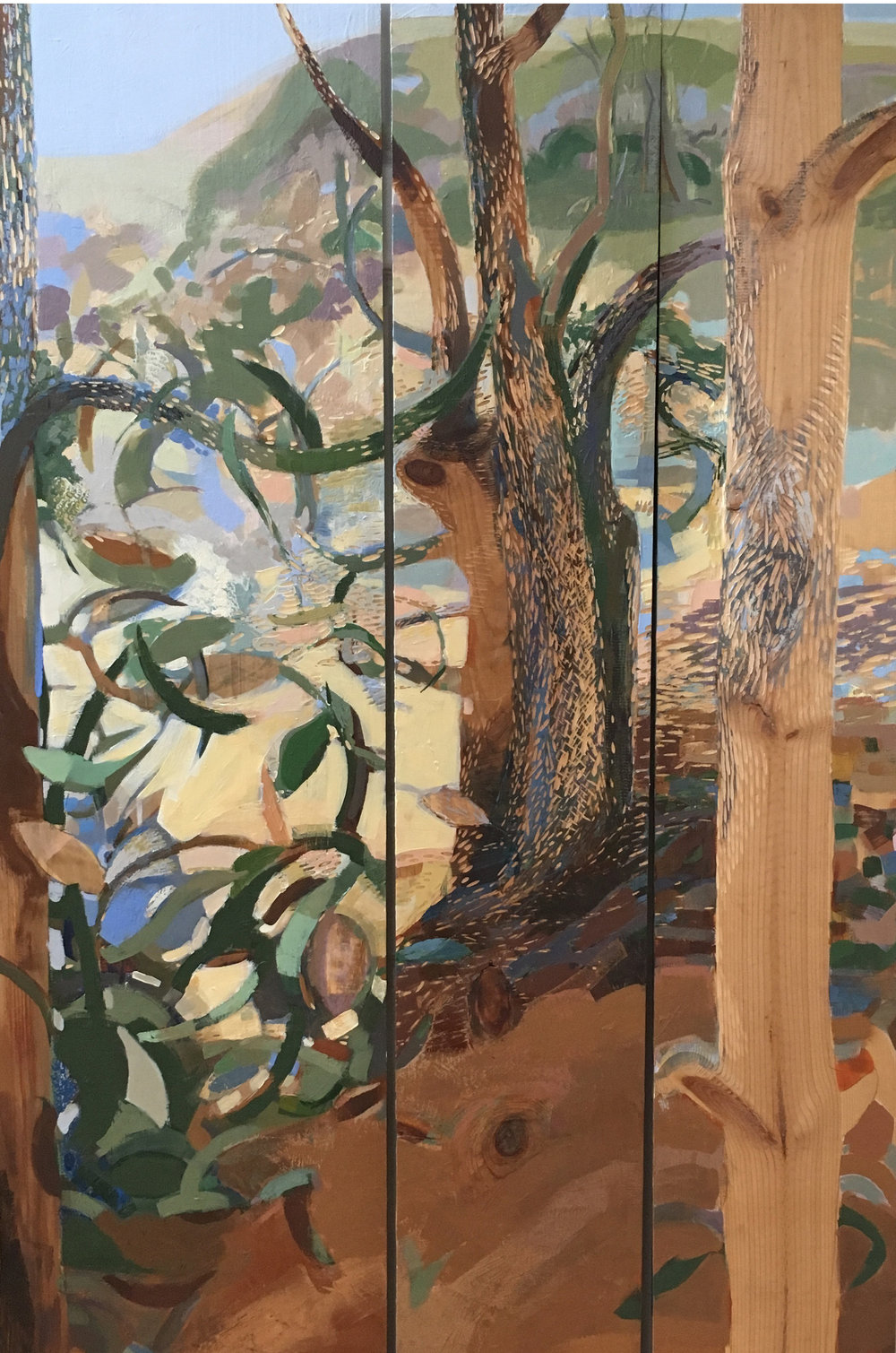 Warm Grove, 2016, triptych: mixed media on carved & inked wood, 74 x 34 inches