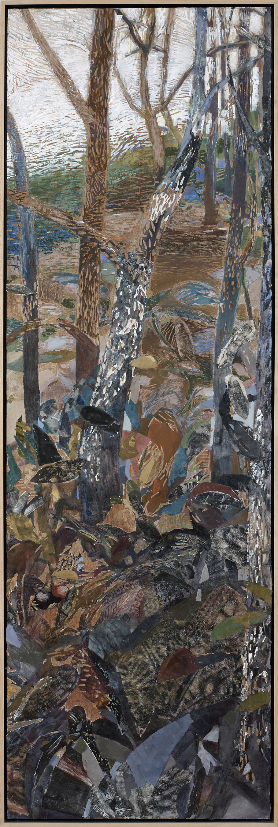Understory , mixed media on carved wood panel, encaustic, 84 x 27.5 x 2.25 inches