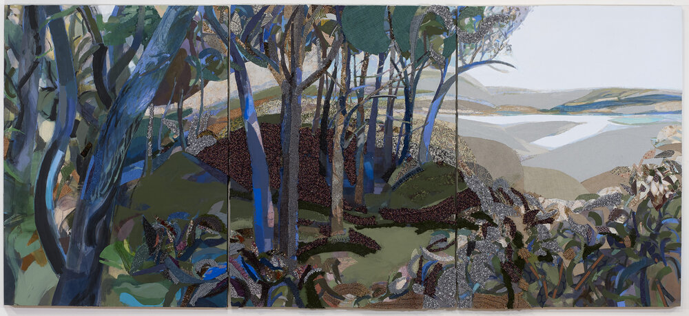 Piney Wetlands , 2016, mixed media on panel, 48 x 108 in.