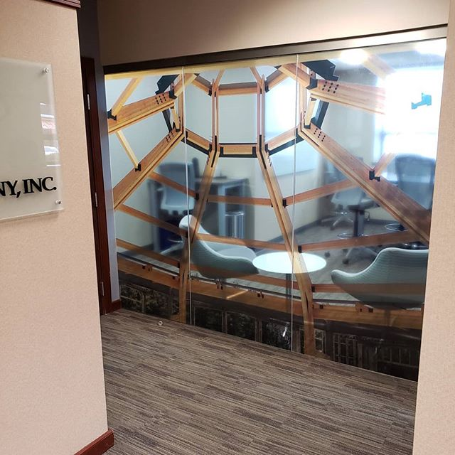 Custom conference room window graphics.  Not only do they help create a beautiful space in your office but also offer safety. Sometimes clean glass can give the illusion of an open area leading to injury or damage to the glass. It can also act as a privacy film! 💥 💥 💥 💥 💥 #windowgraphics #environmentalgraphics #glass #conferenceroom #office #3m #custom #efi #uvprinting #worcester #centralmass #massachusetts
