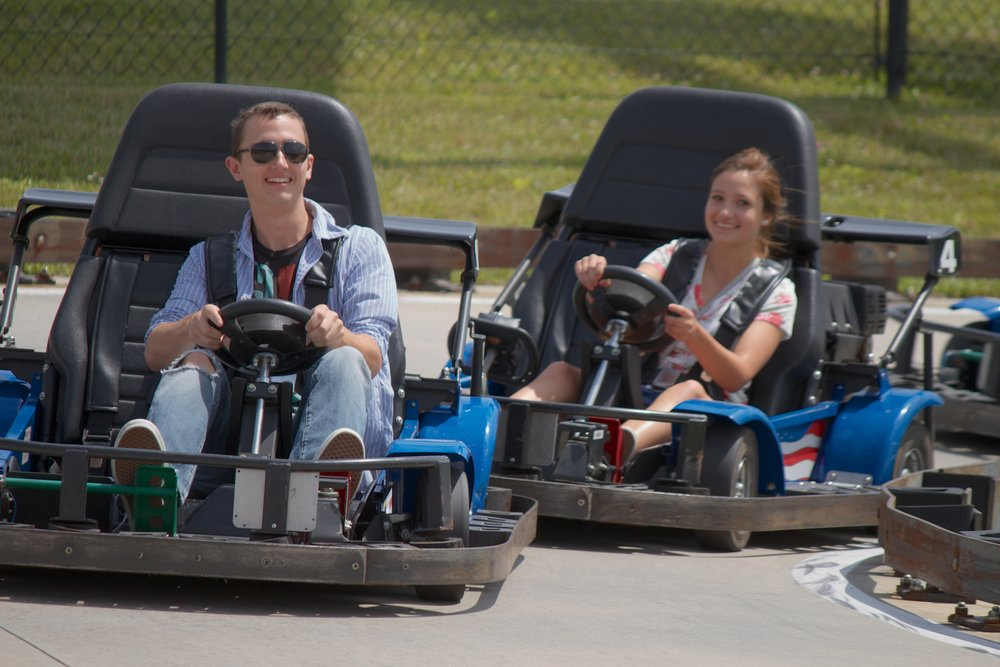 Adventure Park USA's Blazing Trail Go-Karts is fun for guests of all ages. Race around the Family Track or take the younger ones to drive the Rookie Karts.