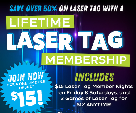Become a lifetime laser tag member at Adventure Park USA for a one-time fee of $8. Get access to $15 Member Discount Nights every Friday and Saturday from 6-9pm. Members also get 3 games of Laser Tag for $12 anytime.
