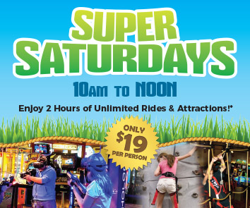 Enjoy unlimited rides and attractions on Saturdays from 10 am to noon at Adventure Park USA for only $16 per person during Super Saturdays.   *Pass does not include merchandise, food or drinks.