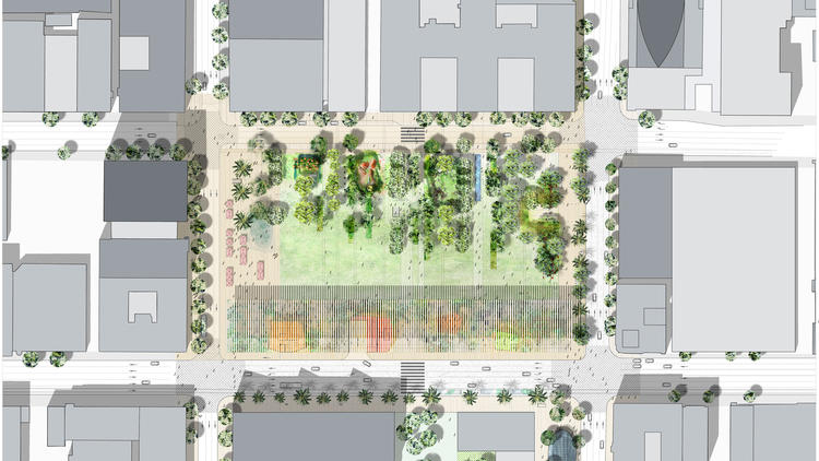 French landscape firm Agence Ter has won a design competition to remake Pershing Square in downtown Los Angeles. (Pershing Square Renew)