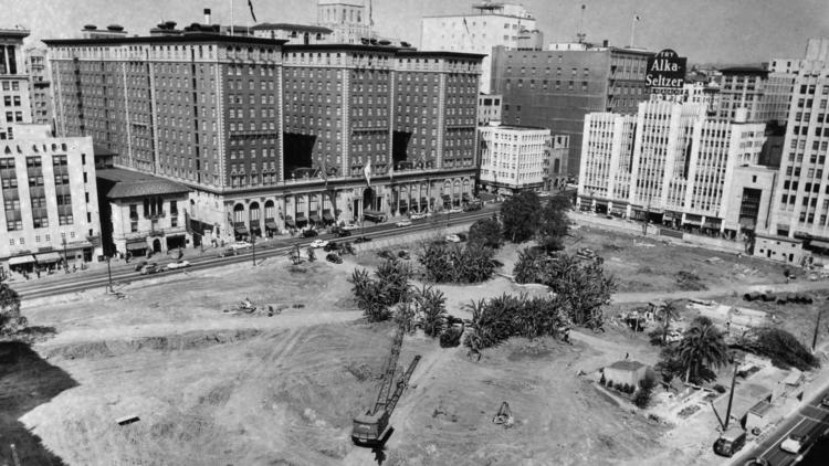 A 1951 photo of Pershing Square shows the clearing it underwent to construct an underground parking garage. (Los Angeles Times)