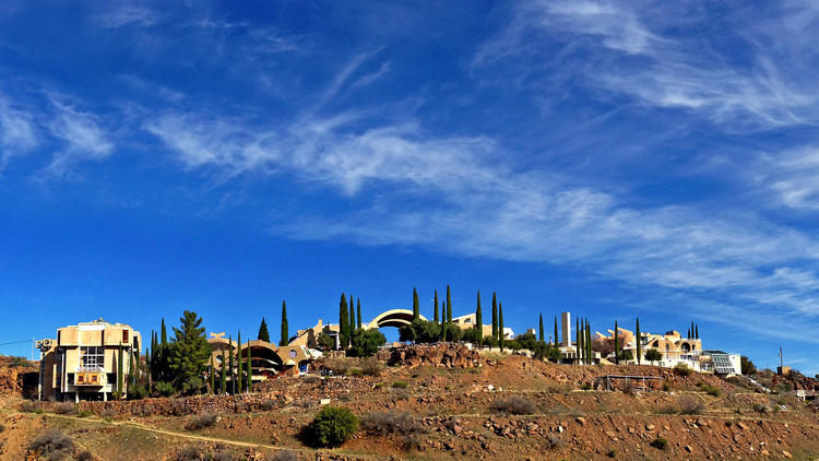 The experimental town of Arcosanti, located in central Arizona, looks much the same today as it did shortly after most of its buildings were designed by architect Paolo Soleri and constructed in the 1970s. (Sam Lubell / Los Angeles Times)