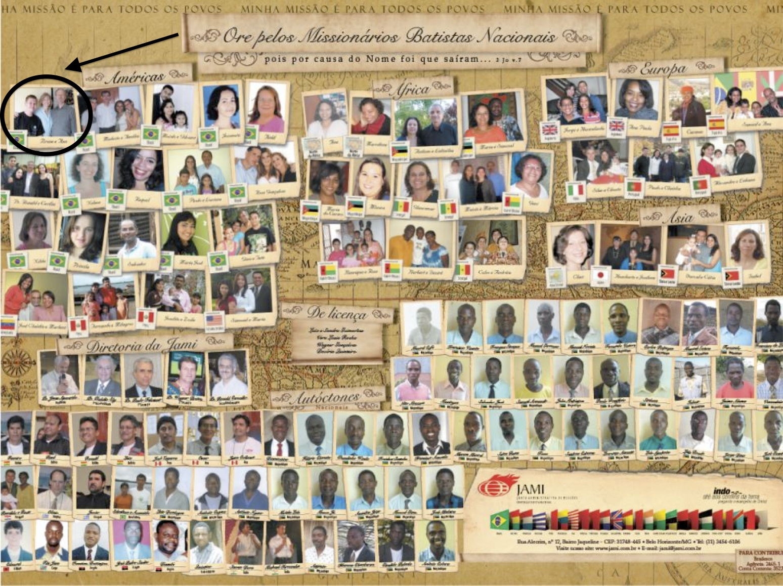 Our family photo is in the top left hand corner of the JAMI missionary poster. Helio uses this poster to pray for missionaries around the world.