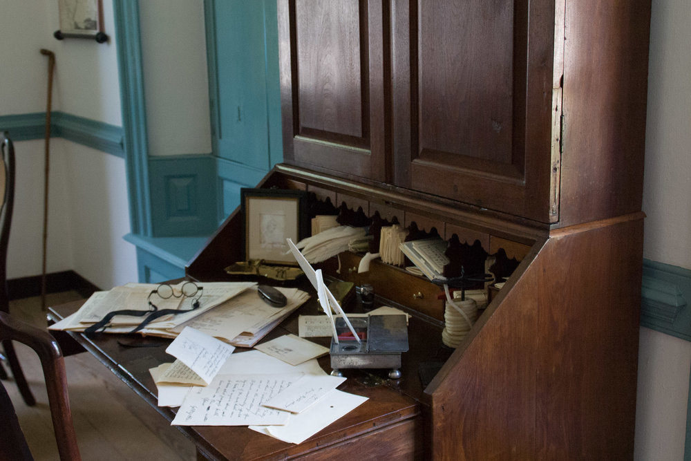 A Colonial Desk, set up for book keeping