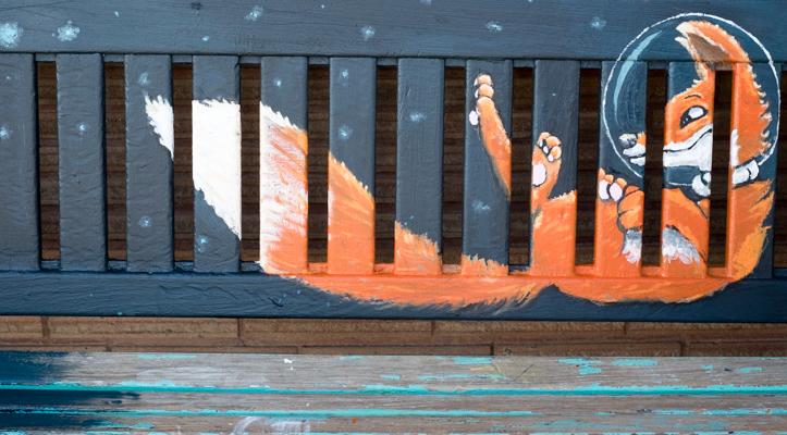 Red Fox Bench on 13th Ave, Regina