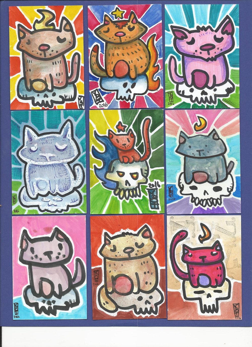 Artist Trading Cards -Kitties on Skulls 12 Toby Cougar 2016.jpg