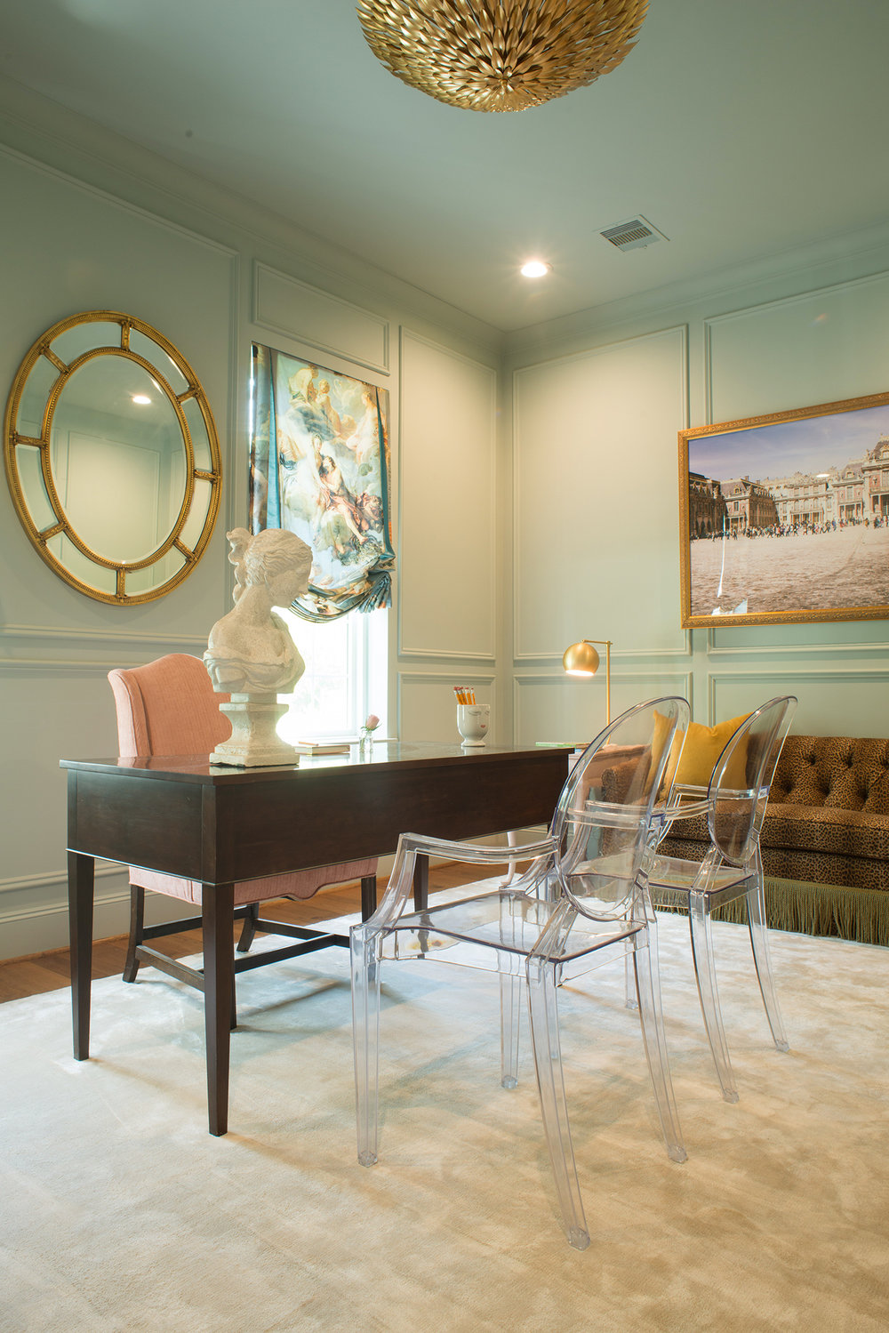 Art That's Uniquely Yours - Pictured Left:The homeowner loved Marie Antoinette and had her study designed around that theme. I was able to take this image of Versailles for her (pictured above the leopard settee).