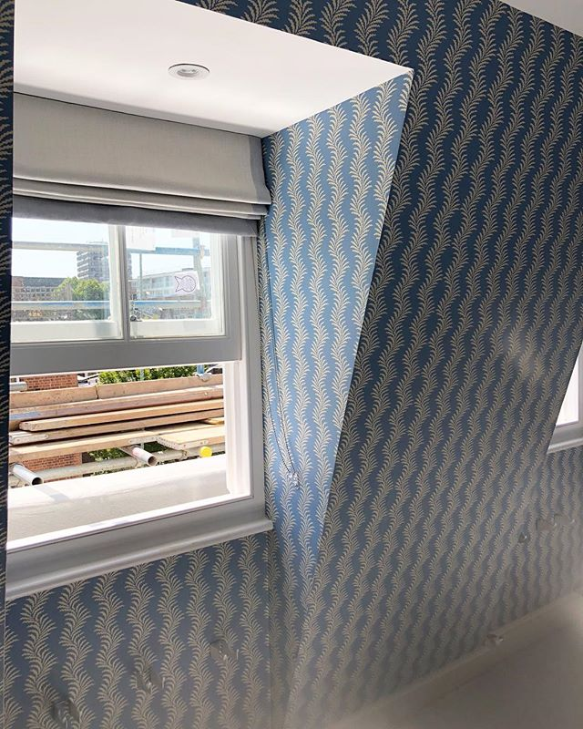 @soanebritain scrolling fern wallpaper looking beautiful at our Battersea job alongside some bespoke blinds. Nearly ready for moving in day on Friday! #projectmanagement #interiordesign #wallpaper #kravetfabric #soane #loftconversion #building #makeahouseahome