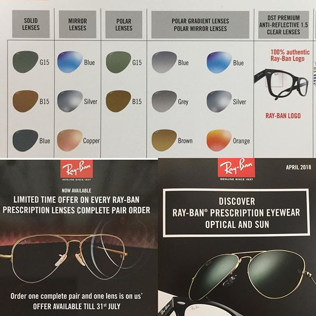 100% authentic complete Ray-Ban Prescription Eyewear. Customised to your visual needs and certified by the engraved Ray-Ban logo. Limited special offer on a complete pair order...🕶👓🕶👓