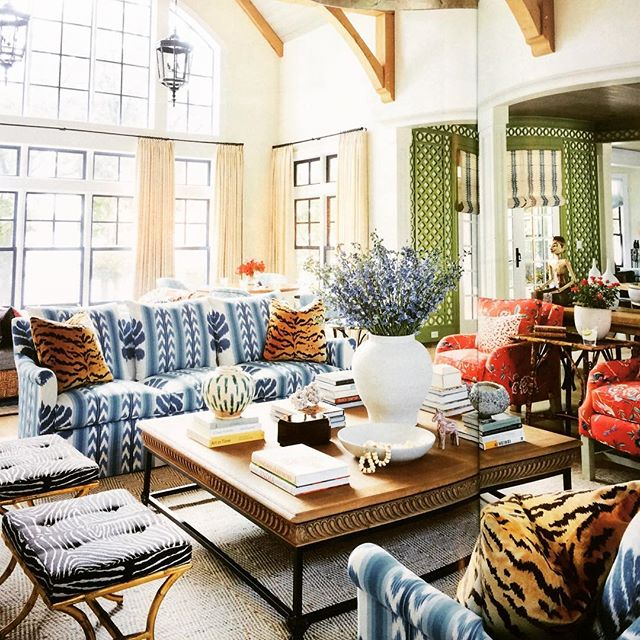Safe tone on tone beige this is not! We love the mix of bold pattern and vibrant colors by Summer Thornton. Shop the look with LCR Interiors.  #summerthornton  #housebeautiful