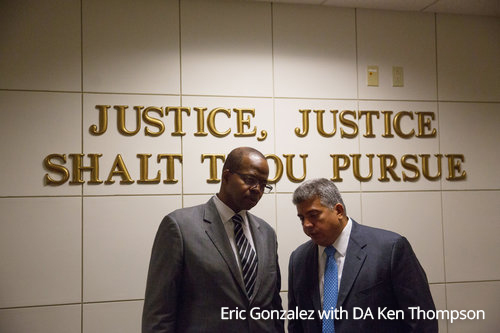 Eric Gonzalez with DA Ken Thompson