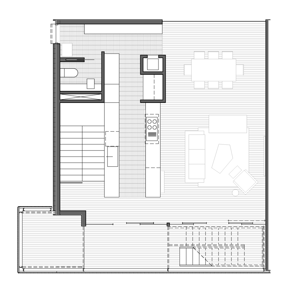 THIRD FLOOR - KITCHEN, LIVING AND BALCONY