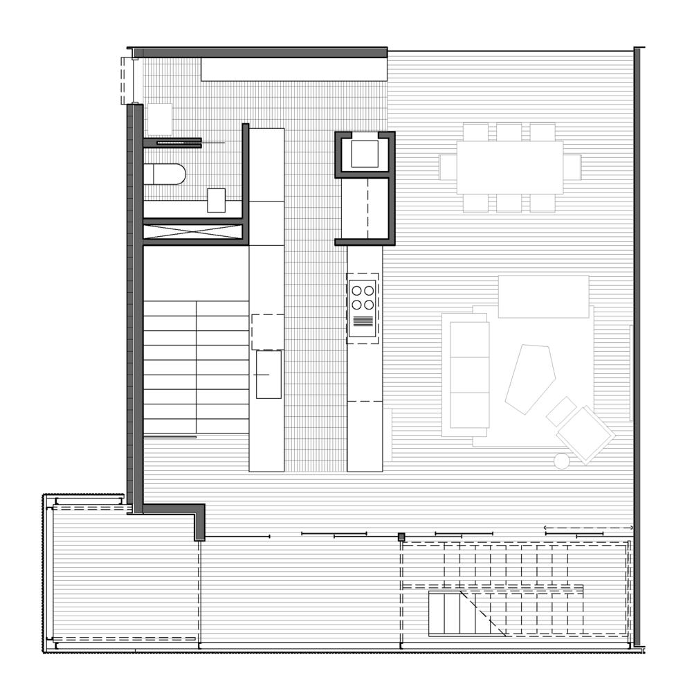 THIRD FLOOR - KITCHEN, LIVING AND BALCONY