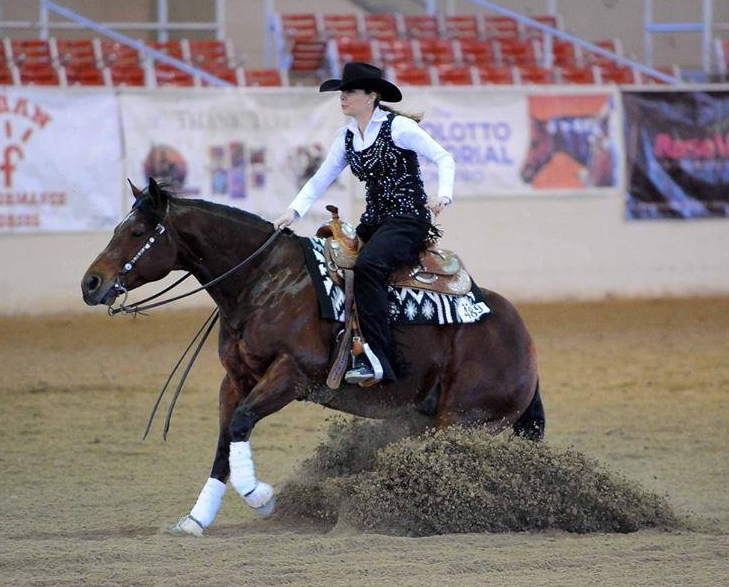 Kristie Banks and AR Oakies Last Stand: Int Non Pro- 4th Place, Limited Non Pro- 6th Place, Rookie 1- 6th Place - (Photo not from Reining By The Bay)