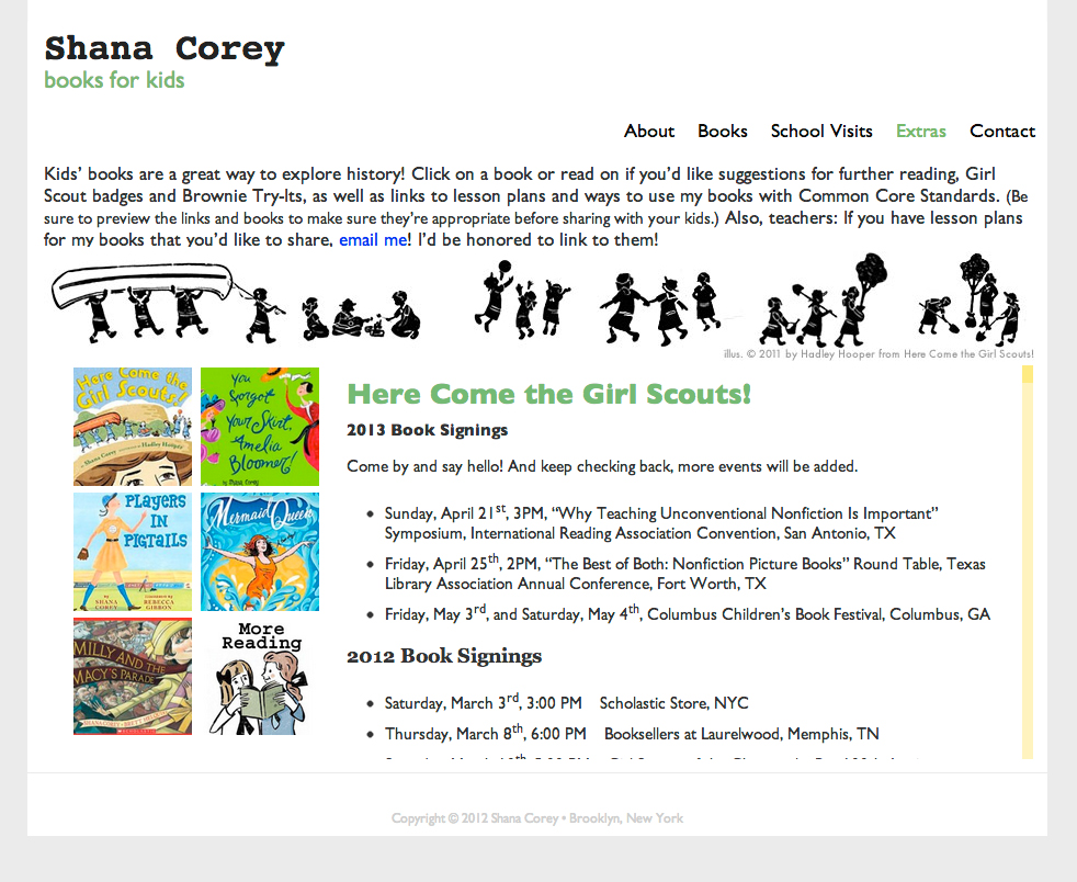 Website for award winning author, Shana Corey.