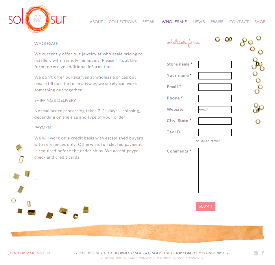 Website and logo update for the jewelry and home goods brand Sol del Sur.
